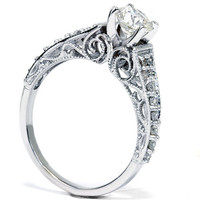 Vintage Diamond Engagement Hand Engraved Antique Art Deco .60CT Anniversary Ring 14K White Gold Size 4-9