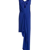 REISS Womens Paradisa Royal Blue Cascade Low Back Maxi Dress