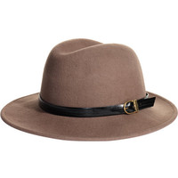REISS Womens Harriman Caramel Leather Trim Trilby Hat