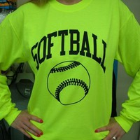Long Sleeve Neon Softball T-shirt (Size=Small)