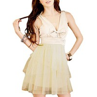 Allegra K Women Bowtie Decor Deep V Neck Sleeveless Tank Dress Beige XS