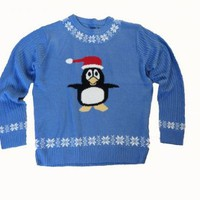 Ugly Christmas Sweater Percy Penguin Blue