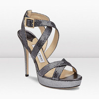 Jimmy Choo | Vamp | Glitter Fabric Sandal For Autumn Winter 11 | JIMMYCHOO.COM