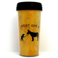 Funny  I Don&#x27;t Give A Rat&#x27;s Ass Handmade Travel Mug by kitschville