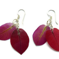 Bougainvillea jewelry. Pressed flower earrings. Purple and red dangle earrings. Eco friendly jewelry. Gift for sister. Dried petal earrings.