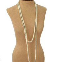 Long Single Strand Cream Faux Pearl Necklace-Flapper Necklaces