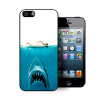 iPhone 5 case includes screen protector and cleaning cloth.Sharks design. Available in black or white