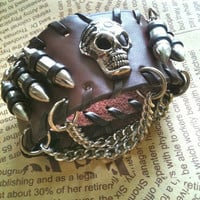 Free shipping Brown Bullets skull leather warp by Victorianstudio