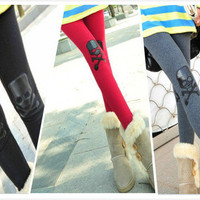 Ms. personalized cotton leather stitching skull brushed fashion Leggings  DDK0007 from lovely girls