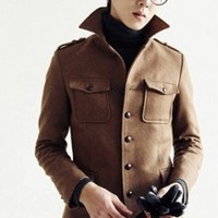 Wholesale New Arrival Pure Color Single Breasted Coat Coffee