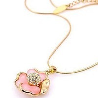 Fashion Four Pieces Flower Rhinestone Pendent Necklace at Online Jewelry Store Gofavor