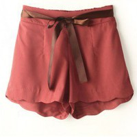 Loose Shorts with Silky Tie Front and Scallop Cuffs