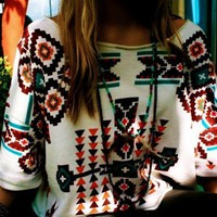 White Oversized Tribal Sweater Women - Bohemian Oversized Tribal Sweater Women