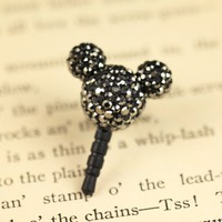 MiniSuit Mickey Universal Cell Phone Dustplug for 3.5mm Earphone Jack Cap (Black Crystal)
