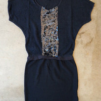 Sparkling Navy Knit Dress [3548] - $36.00 : Vintage Inspired Clothing & Affordable Fall Frocks, deloom | Modern. Vintage. Crafted.
