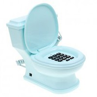 Excellent Closestool Shaped Wired Table Landline Telephone for Home and Office - Azure China Wholesale - Sammydress.com
