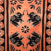 Batik Elephant Tapestry Orange