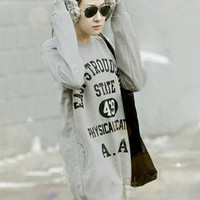 Korean Fashion Letter Printed Gray Hoodies : Wholesaleclothing4u.com
