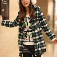 Casual Long Sleeve Grid Ladies Shirts Green : Wholesaleclothing4u.com