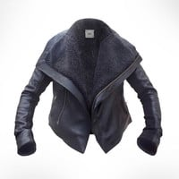 Black Leather Biker shearling Jacket by JOD UK 12/ by JODClothing