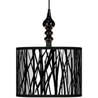 Black Jagged Stripes 13 1/2 Wide Black Swag Chandelier | LampsPlus.com