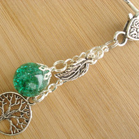 Tree of Life Leaf Crackle Glass Marble Green Keychain