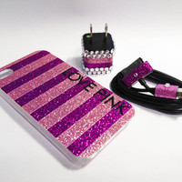 LOVE PINK iPhone Case, USB Charger and Cord