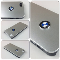 iPhone 5 cover BMW Sport Car Logo Carbon Aluminum metallic case - Silver or Black