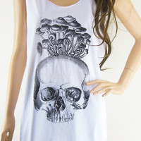 Skull Mushrooms Art Design Skull Tank Top Women Tanks Skull Shirt White T-Shirt Tunic Screen Print Size M