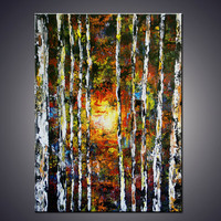 40 Gallery Wrap ORIGINAL Large Birch Forest by ArtbyAda on Etsy