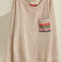 Printing Pocket Long Sleeve Sweater