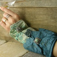 victorian romantic steampunk arm cuff in blue by piabarile