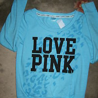 Victorias Secret Size SMALL Blue PINK Sweatshirt Pullover Mint Condition