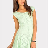 Lacey Lady Cut Out Dress - Mint