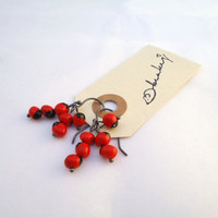 huayruro seed earrings  red and black  oxidized sterling by BeaKez