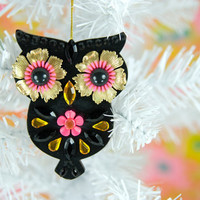 $23.00 Jeweled Owl Ornament Christmas Decoration Hand by midwestmaude
