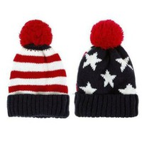 Amazon.com: LOCOMO Men Women Boy Girl US American Country Flag Patriotic Knit Beanie Crochet Rib Pom Pom Hat Cap Warm FAF023BLU Blue & Red: Clothing