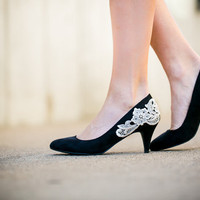 Heels - Black Pumps - Black Pumps/ Low Black Heels with Ivory Lace. US Size 7