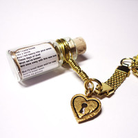 Love Song in a Bottle Keychain. I Will Wait by Mumford and Sons. Gold Love Heart Charm. Ready to Ship