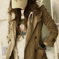Wholesale Stylish Casual Fake Two Pieces Hooded Coat Khaki