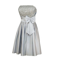 A-line Strapless Sleeveless Knee-length Satin Bridesmaid Dress With Sashes Beading Free Shipping