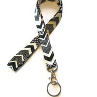 lanyard ID Badge Holder - classic black and cream chevron fabric handmade