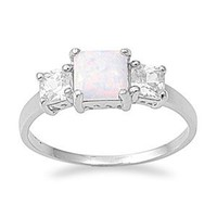 Sterling Silver Square White Opal Cz Ring (Size 5 - 10)