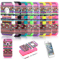 New 3-Piece Tribal Pattern Hybrid Hard Case Cover For iPhone 5 5G Screen Guard