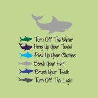 Sharks BATHROOM RULES  Kids Bathroom  Vinyl Wall Lettering Decal