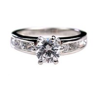 Amazon.com: Classic Sterling Silver 1.75 ct Solitaire Engagement Ring with 6 pt Tiffany Setting (sizes 5 to 10): Jewelry