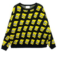 Loose Fit Knitted Jumper with Simpson Print
