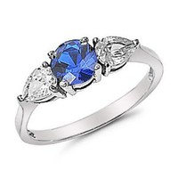 Stainless Steel Three Stone Blue Sapphire Center CZ Engagement Ring Sizes 5 to 10: Jewelry: Amazon.com