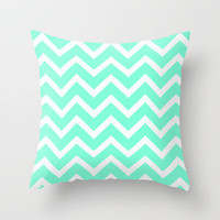 Tiffany Mint Chevron Pattern Throw Pillow by Rex Lambo | Society6