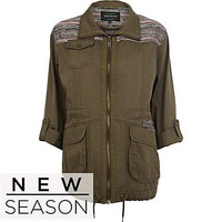Khaki jacquard panel army jacket